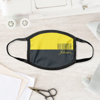 Black and Yellow Modern Name Monogram Face Mask