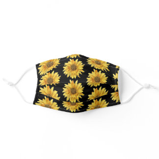 Black and Yellow Sunflower / Gardener Adult Cloth Face Mask