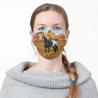 Black Appaloosa Horse in Autumn Pasture Adult Cloth Face Mask
