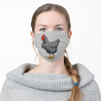 Black Barred Plymouth Rock Hen Chicken Adult Cloth Face Mask
