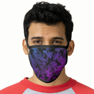 Black, blue, purple camouflage pattern camo face mask