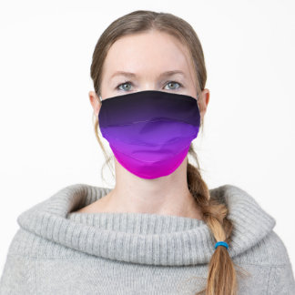 Black Blue Violet and Neon Pink Ombre Adult Cloth Face Mask