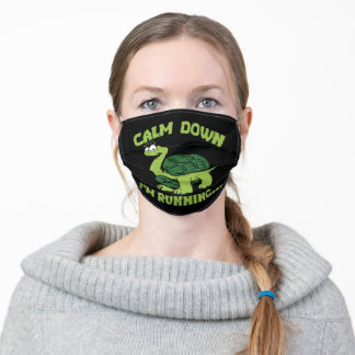 Black Calm Down I'm Running Tortoise Adult Cloth Face Mask