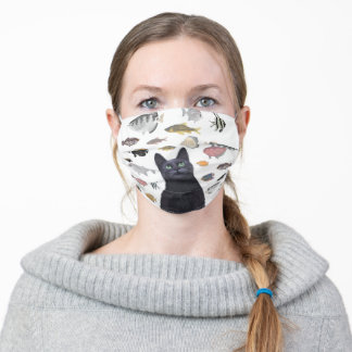 Black Cat Gazing at the Fish Tank Adult Cloth Face Mask
