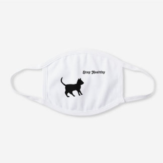 Black Cat - Stay Healthy White Cotton Face Mask