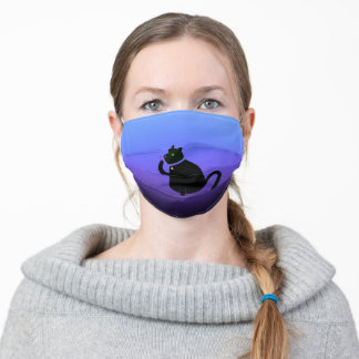 Black cat with green eyes on blue purple colorfade adult cloth face mask
