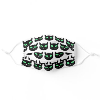 Black cat with green eyes pattern adult cloth face mask