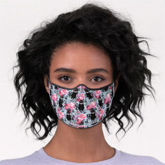 Black Cats in Pink Flowers - Blue Premium Face Mask