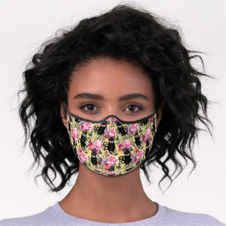 Black Cats in Pink Flowers - Yellow Premium Face Mask