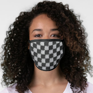 Black Checkered Artisan Crochet All Over Print Face Mask