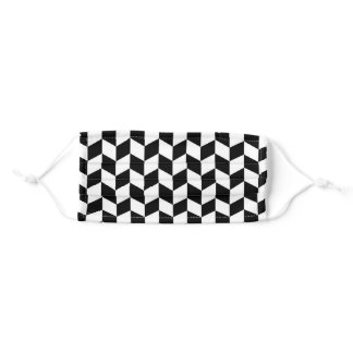 Black Chevron Herringbone Pattern Adult Cloth Face Mask