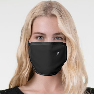 Black Cool Modern Minimalist Monogram Initials Face Mask