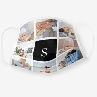 Black | Create Your Own Photo & Monogram Collage Cloth Face Mask