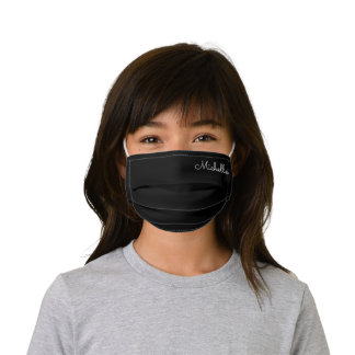 Black Custom Name Kids' Cloth Face Mask