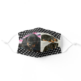 Black Dog Pet Lover Photo Collage Pawprint Adult Cloth Face Mask