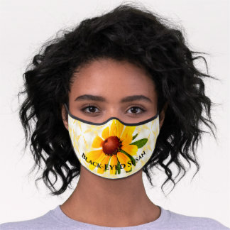 Black-Eyed Susan Floral Photography Wildflower Premium Face Mask