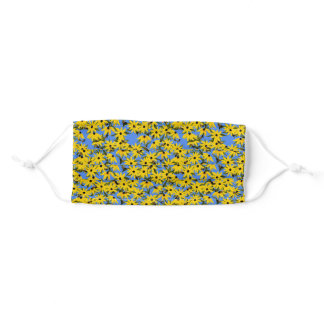 Black Eyed Susan Flowers and Bees Adult Cloth Face Mask
