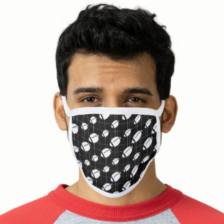 Black Football Grid Patterned Face Mask