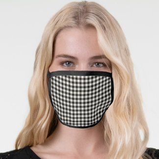 Black Gingham Checkered Pattern Face Mask