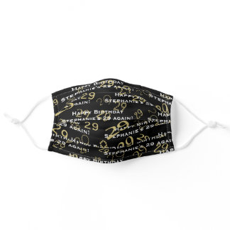Black/Gold Birthday Any Age Number - Your Text Adult Cloth Face Mask