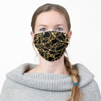 Black gold chain pattern glam adult cloth face mask