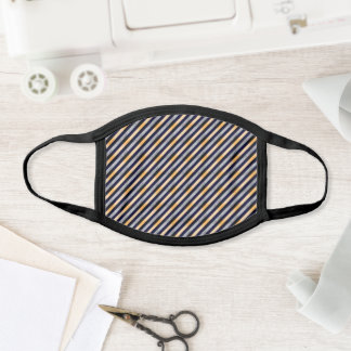 Black Gold Gray Striped Pattern Stylish Minimal Face Mask