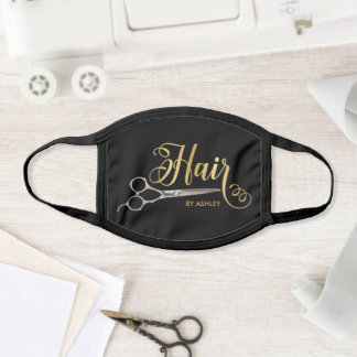 Black & Gold  Hairstylist Salon Name Face Mask