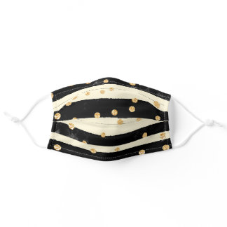 Black Gold Ivory Chic Striped Pattern Adult Cloth Face Mask