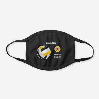 black gold team colors simple volleyball black cotton face mask