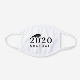 Black Graduation Cap Class of 2020 Graduate White Cotton Face Mask
