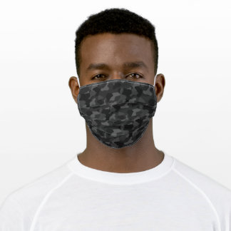 Black & Gray Dark Night Camouflage Military Style Adult Cloth Face Mask
