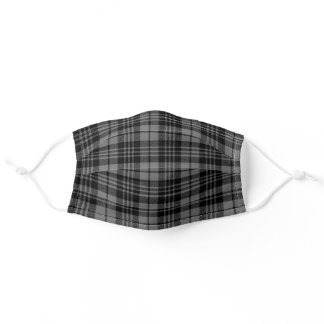 Black Gray Plaid Pattern Print Adult Cloth Face Mask