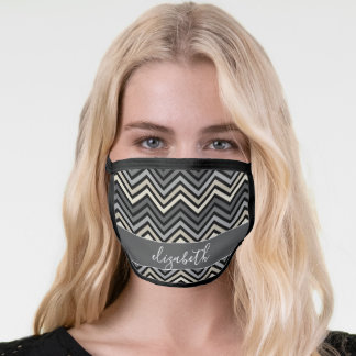 Black Gray Taupe Chevron Pattern Script Name Face Mask
