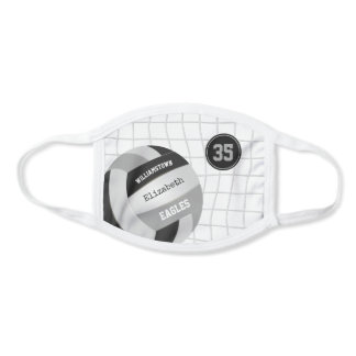black gray team colors girls volleyball face mask