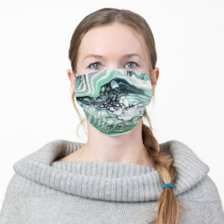 Black, green & white abstract art adult cloth face mask