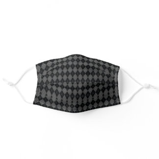 Black Grey Argyle Harlequin Diamond Pattern Adult Cloth Face Mask