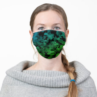 Black, grey, blue and green camouflage pattern adult cloth face mask