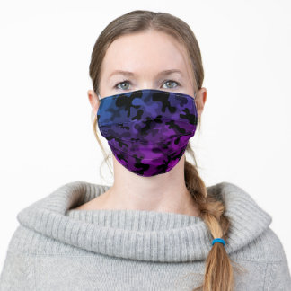 Black, grey, blue and purple camouflage pattern adult cloth face mask