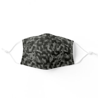 Black Grey Camouflage Camo Pattern Adult Cloth Face Mask