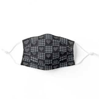 Black Grey Checkered Plaid Tartan Hearts Adult Cloth Face Mask