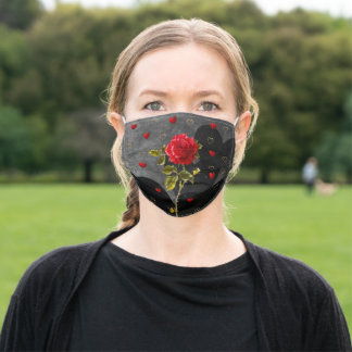 Black Grunge Hearts with Red Rose Adult Cloth Face Mask
