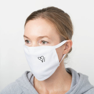 black heart logo custom name white cotton face mask
