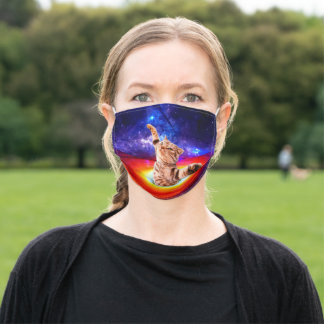 Black hole - space cat - funny cats - in space adult cloth face mask