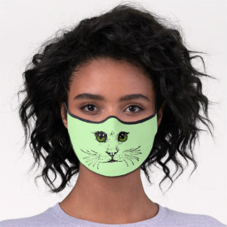 Black Illustration of Cat Face with Green Eyes Premium Face Mask