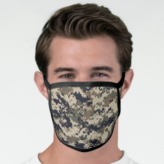 Black, Khaki Brown, & Green Pixel Camo Camouflage Face Mask