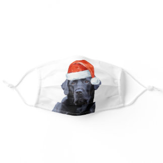 Black Lab Christmas - Cute Santa Dog Labrador Adult Cloth Face Mask