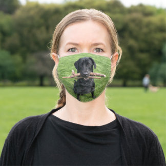 Black Lab with two sticks Dog Photo Adult Cloth Face Mask
