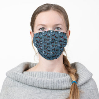 Black Labs Navy Blue with Hearts Pattern Adult Cloth Face Mask