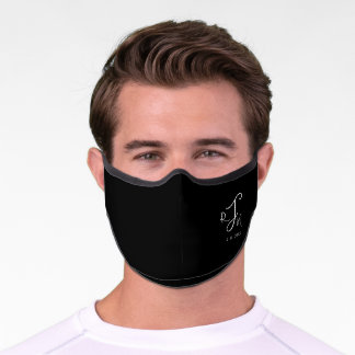 Black, Modern Elegant Monogram with Initials, Premium Face Mask