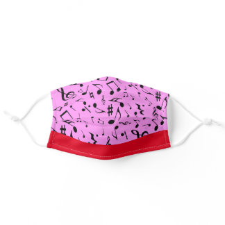 Black Music Notes on Pink Adult Cloth Face Mask